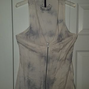 Cotton and silk V neck zip front blouse